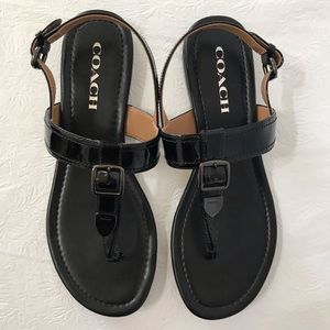Coach Cassidy Black Patent Leather Sandals